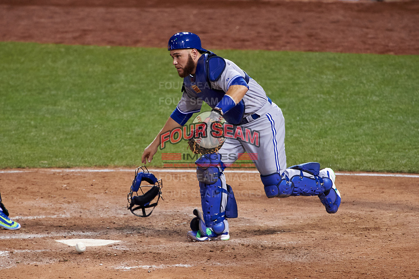 Toronto Blue Jays catcher Russell Martin during the MLB All-Star Game on July 14, 2015 at Great American Ball Park in Cincinnati, Ohio.  (Mike Janes/Four Seam Images)