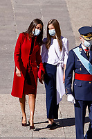 MADRID, SPAIN- October 12:  **NO SPAIN** , Queen Letizia of Spain and  Princess Leonor attend The National Day Military Parade at Royal Palace on October 12, 2020 in Madrid, Spain. <br /> CAP/MPI/RJO<br /> ©RJO/MPI/Capital Pictures