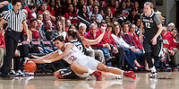 Stanford's Kailee Johnson, goes after a lose ball during Stanford women's basketball  vs Washington State at Maples Pavilion, Stanford, California on March 1, 2014.