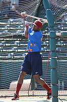 Lancaster JetHawks outfielder Jay Austin of the California League All- Stars taking batting practice before the California League vs. Carolina League All-Star game held at BB&T Coastal Field in Myrtle Beach, SC on June 22, 2010.  The California League All-Stars defeated the Carolina League All-Stars by the score of 4-3.  Photo By Robert Gurganus/Four Seam Images