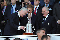 Secretary of State for Defence Sir Michael Fallon MP admires the Calcutta Cup with Prince Harry during the RBS 6 Nations match between England and Scotland at Twickenham Stadium on Saturday 11th March 2017 (Photo by Rob Munro/Stewart Communications)