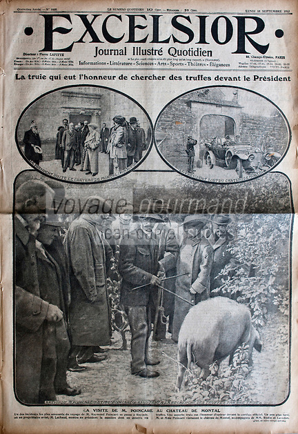 Europe/France/Aquitaine/24/Dordogne/Sorges: Musée de la Truffe, Sorges Couverture d'un journal illustré sur la Truffe représentant une scène de cavage  _ Reproduction - Collection:  Musée de la Truffe, Sorges