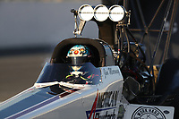 Feb 7, 2020; Pomona, CA, USA; NHRA top fuel driver Jim Maroney during qualifying for the Winternationals at Auto Club Raceway at Pomona. Mandatory Credit: Mark J. Rebilas-USA TODAY Sports