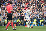 Toni Kroos of Real Madrid  fights for the ball with Gerard Moreno Balaguero of RCD Espanyol during the match Real Madrid vs RCD Espanyol, a La Liga match at the Santiago Bernabeu Stadium on 18 February 2017 in Madrid, Spain. Photo by Diego Gonzalez Souto / Power Sport Images