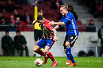 Victor Machin, Vitolo (L), of Atletico de Madrid fights for the ball with Pierre Bengtsson of FC Copenhague during the UEFA Europa League 2017-18 Round of 32 (2nd leg) match between Atletico de Madrid and FC Copenhague at Wanda Metropolitano  on February 22 2018 in Madrid, Spain. Photo by Diego Souto / Power Sport Images