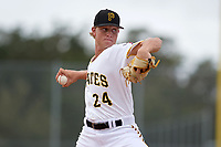 Pittsburgh Pirates pitcher Shane Baz (24) delivers a pitch during an Instructional League game against the Tampa Bay Rays on October 3, 2017 at Pirate City in Bradenton, Florida.  (Mike Janes/Four Seam Images)