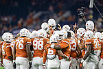 The Texas Longhorns get ready for action before the Advocare V100 Texas Bowl game between the Arkansas Razorbacks and the Texas Longhorns at the NRG Stadium in Houston, Texas. Arkansas defeats Texas 31 to 7.