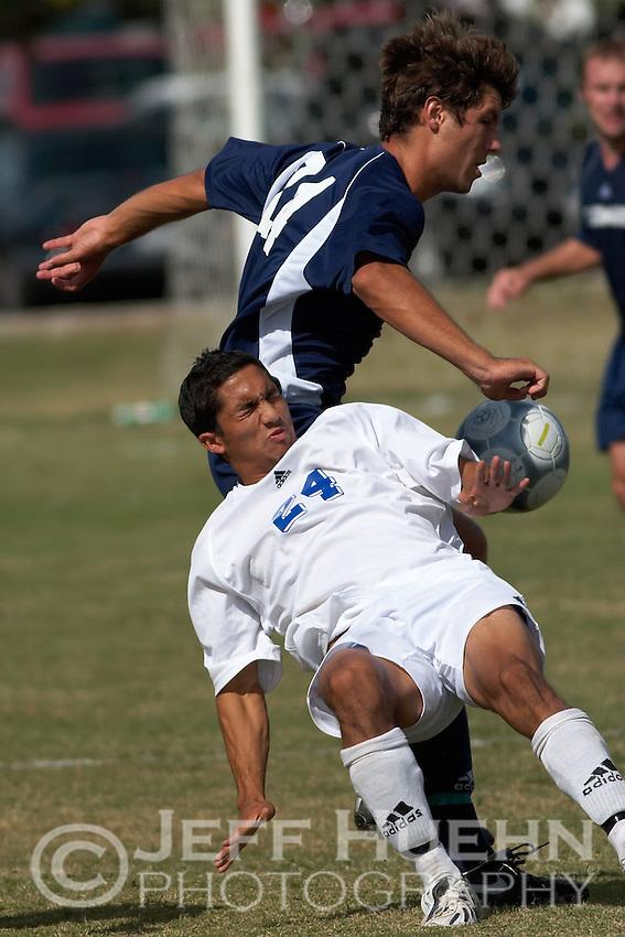 SAN ANTONIO, TX - OCTOBER 5, 2005: The St. Edward's University Hilltoppers vs. the St. Mary's University Rattlers Men's Soccer at the St. Mary's Soccer Field. (Photo by Jeff Huehn)