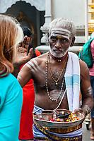 Hindu Temple Sri Vadapathira Kaliammam during Navarathiri Celebrations, Singapore.  Hindu Priest