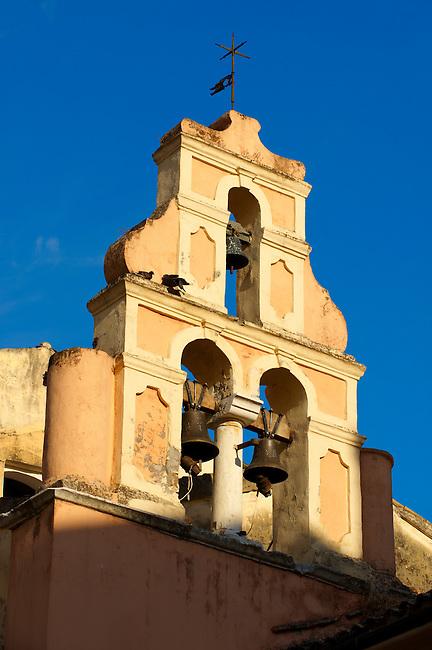 Church Bell Tower of a Greek Orthodox Church, Corfu Old Town, Greek Ionian Islands