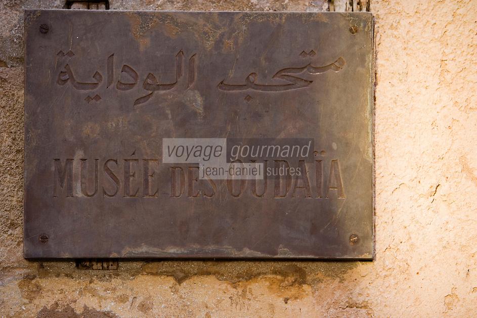 Afrique/Afrique du Nord/Maroc/Rabat: Afrique/Afrique du Nord/Maroc/Rabat: la kasbah des Oudaïas détail plaque du musée des Oudaïa