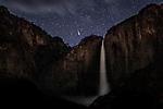USA, California, Yosemite National Park , Yosemite Falls by night, meteor