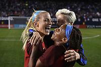 San Diego, CA - Sunday January 21, 2018: Julie Ertz, Crystal Dunn, Megan Rapinoe during an international friendly between the women's national teams of the United States (USA) and Denmark (DEN) at SDCCU Stadium.