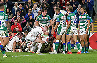 Friday 8th October 2021<br /> <br /> Rob Herring is congratulated after he scored during the URC Round 3 clash between Ulster Rugby and Benetton Rugby at Kingspan Stadium, Ravenhill Park, Belfast, Northern Ireland. Photo by John Dickson/Dicksondigital