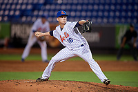 St. Lucie Mets relief pitcher Ryder Ryan (16) delivers a pitch during the first game of a doubleheader against the Charlotte Stone Crabs on April 24, 2018 at First Data Field in Port St. Lucie, Florida.  St. Lucie defeated Charlotte 5-3.  (Mike Janes/Four Seam Images)