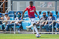 SAN JOSE, CA - APRIL 24: Eddie Munjoma #2 of FC Dallas control the ball during a game between FC Dallas and San Jose Earthquakes at PayPal Park on April 24, 2021 in San Jose, California.