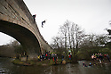01/01/17<br /> <br /> New Year's Day revellers jump off Mappleton Bridge into the river below near Ashbourne in the Derbyshire Peak District. Donations were made for a local boy who was recently diagnosed with cancer. <br /> <br /> <br /> All Rights Reserved F Stop Press Ltd. (0)1773 550665   www.fstoppress.com