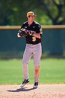 Iowa Hawkeyes shortstop Nick Roscetti (3) throws to first during a game against the Dartmouth Big Green on February 27, 2016 at South Charlotte Regional Park in Punta Gorda, Florida.  Iowa defeated Dartmouth 4-1.  (Mike Janes/Four Seam Images)