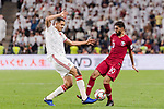Hasan Al Haydos of Qatar (R) fights for the ball with Ismail Ahmed Mohamed of United Arab Emirates (L) during the AFC Asian Cup UAE 2019 Semi Finals match between Qatar (QAT) and United Arab Emirates (UAE) at Mohammed Bin Zaied Stadium  on 29 January 2019 in Abu Dhabi, United Arab Emirates. Photo by Marcio Rodrigo Machado / Power Sport Images