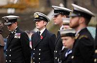 Pictured: Young people in uniform prepare for the two minute silence. Saturday 11 November 2017<br /> Re: Armistice Day, two minutes were observed to mark remembrance at Castle Square in Swansea, Wales, UK.