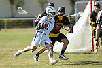 GER - Hannover, Germany, May 31: During the Men Lacrosse Playoffs 2015 match between ABV Stuttgart 1863 (white) and HTHC Hamburg (black) on May 31, 2015 at Deutscher Hockey-Club Hannover e.V. in Hannover, Germany. Final score 2:10. (Photo by Dirk Markgraf / www.265-images.com) *** Local caption *** Dennis Kowa #11 of ABV Stuttgart, David Ufer #3 of HTHC Hamburg