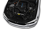 Car stock 2018 BMW 5 Series 530e iPerformance 4 Door Sedan engine high angle detail view