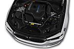 Car stock 2018 BMW 5 Series 530e iPerformance 4 Door Sedan engine high angle detail view
