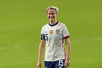 ORLANDO, FL - JANUARY 22: Megan Rapinoe #15 reacts to the fans as she exits the field at half during a game between Colombia and USWNT at Exploria stadium on January 22, 2021 in Orlando, Florida.