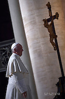 Pope Francis during of a weekly general audience at St Peter's square in Vatican. on October 05, 2016
