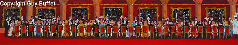 """""""The Banquet""""<br /> Limited Edition Lithograph Paper 8x32<br /> SN $250<br /> EA or HC $400<br /> EA or HC With Original Watercolor Remarque $850"""