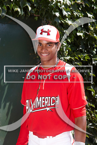 Infielder Oscar Mercado (2) poses for a photo before the Under Armour All-American Game at Wrigley Field on August 18, 2012 in Chicago, Illinois.  (Copyright Mike Janes Photography)