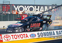 Jul 28, 2017; Sonoma, CA, USA; NHRA funny car driver Del Worsham during qualifying for the Sonoma Nationals at Sonoma Raceway. Mandatory Credit: Mark J. Rebilas-USA TODAY Sports