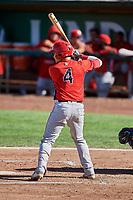 Keinner Pina (4) of the Orem Owlz bats against the Ogden Raptors at Lindquist Field on September 10, 2017 in Ogden, Utah. Ogden defeated Orem 9-4. (Stephen Smith/Four Seam Images)