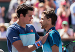 March 16, 2019: Dominic Thiem (AUT) and Milos Raonic (CAN) shake hands after their match. Thiem defeated Raonic (CAN) 7-6, 6-7, 6-4 in the semifinals at the BNP Paribas Open at the Indian Wells Tennis Garden in Indian Wells, California. ©Mal Taam/TennisClix/CSM