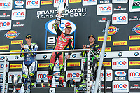 Winner Shane Byrne of Be Wiser Ducati Racing Team on the podium with second place Christian Iddon of Tyco BMW Motorrad (Left) and third place James Ellison of McAMS Yamaha (Right) after race two of the MCE British Superbikes in Association with Pirelli round 12 2017 - BRANDS HATCH (GP) at Brands Hatch, Longfield, England on 15 October 2017. Photo by Alan  Stanford / PRiME Media Images.