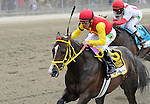Trinniberg, ridden by Willie Martinez, wins the Woody Stephens Stakes on Belmont Stakes Day in Elmont, New York on June 9, 2012.