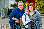 Ordhrán McMahon, attending his first day of school at Scoil Nuachabháil, Ballymacelligott, on Wednesday morning last, pictured with his parents Mairead and Keith McMahon.