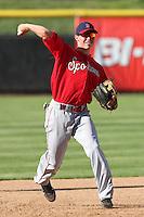 Spokane Indians infielder Drew Robinson #29 before a game against the Salem-Keizer Volcanoes at Volcanoes Stadium on August 10, 2011 in Salem-Keizer,Oregon. Salem-Keizer defeated Spokane 7-6.(Larry Goren/Four Seam Images)