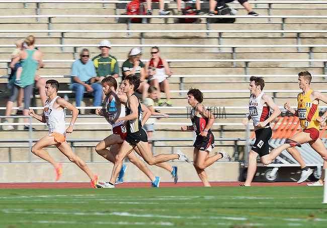 Chad Noelle of Oklahoma State leads heat two of 1500 meter prelims during West Preliminary Track and Field Championships, Friday, May 29, 2015 in Austin, Tex. (Mo Khursheed/TFV Media via AP Images)