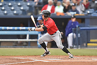 Kannapolis Intimidators center fielder Tyler Sullivan (5) swings at a pitch during a game against the Asheville Tourists at McCormick Field on May 19, 2016 in Asheville, North Carolina. The Intimidators defeated the Tourists 10-7. (Tony Farlow/Four Seam Images)