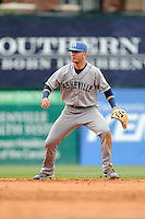 Second baseman Forrest Wall (7) of the Asheville Tourists runs down a round ball in a game against the Greenville Drive on Friday, April 24, 2015, at Fluor Field at the West End in Greenville, South Carolina. Wall was a first-round pick of the Colorado Rockies in the 2014 First-Year Player Draft. Greenville won, 5-2. (Tom Priddy/Four Seam Images)