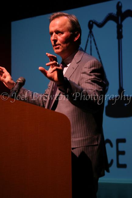 American author, John Grisham, speaks on behalf of the Innocence Institute at Point Park University, March 2010.