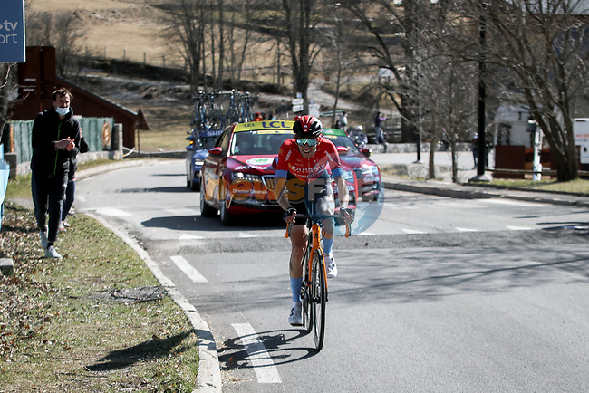 Gino Mäder (SUI) Bahrain Victorious attacks on La Colmaine during Stage 7 of Paris-Nice 2021, running 119.2km from Le Broc to Valdeblore La Colmiane, France. 13th March 2021.<br /> Picture: ASO/Fabien Boukla | Cyclefile<br /> <br /> All photos usage must carry mandatory copyright credit (© Cyclefile | ASO/Fabien Boukla)