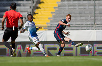 GUADALAJARA, MEXICO - MARCH 18: Justen Glad #4 of the United States passes off the ball during a game between Costa Rica and USMNT U-23 at Estadio Jalisco on March 18, 2021 in Guadalajara, Mexico.