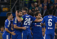 Gary Cahill of Chelsea congratulates goal scorer Diego Costa of Chelsea during the UEFA Champions League match between Chelsea and Maccabi Tel Aviv at Stamford Bridge, London, England on 16 September 2015. Photo by Andy Rowland.
