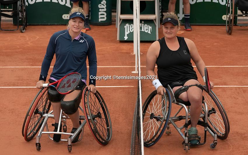 Paris, France, 5 june 2021, Tennis, French Open, Roland Garros, Womans Wheelchair single semi final Dide de Groot (NED)  (L) vesus Aniek van Koot (NED) <br /> Photo: tennisimages.com