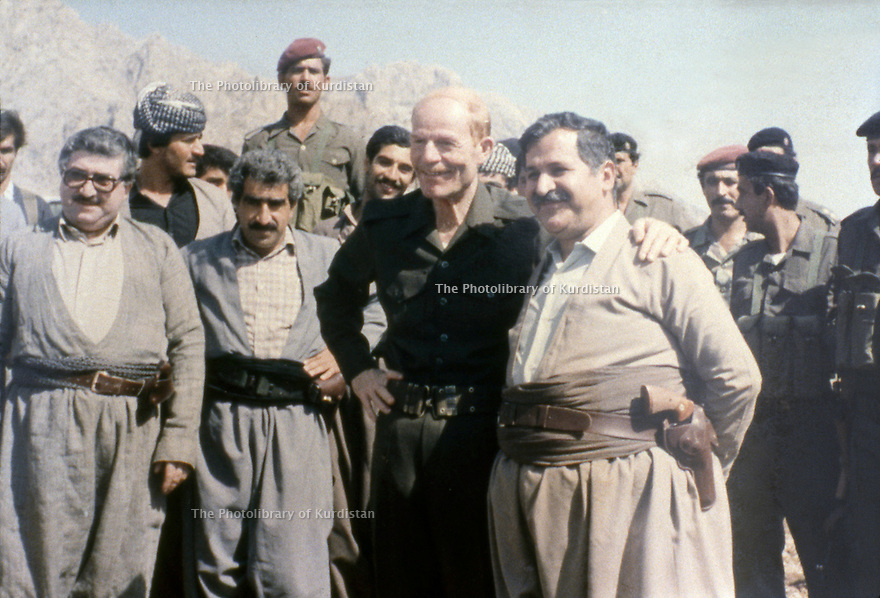 Iraq 1984   Meeting of the Kurds with the Iraqi officials: From right to left: Jalal talabani, Izzat Douri and left Fuad Masum in Surdach near Dokan  Irak 1984  Rencontre des Kurdes avec des officiels irakiens: A droite, Jalal Talabani, Izzat Douri et a gauche, Fouad Massoum