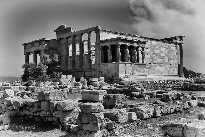 A view from on top of the Acropolis in Athens in black & white