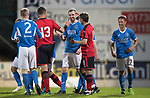 Dave Mackay Testimonial: St Johnstone v Dundee…06.10.17…  McDiarmid Park… <br />Dave Mackay celebrates his goal with Neil McCann and Graham Gartland<br />Picture by Graeme Hart. <br />Copyright Perthshire Picture Agency<br />Tel: 01738 623350  Mobile: 07990 594431