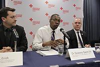 Conference de presse de la croix rouge. le 8 j anvier 2015.<br /> Dickens St-Vil, (M)<br /> Conrad Sauvé (D)<br /> <br /> PHOTO : Agence Quebec Presse